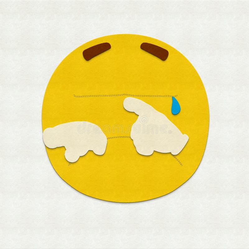 Felt Emoticon Crying. Felt illustration of an emoticon crying stock illustration