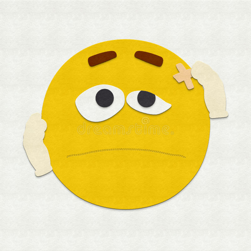 Felt Emoticon Injured vector illustration