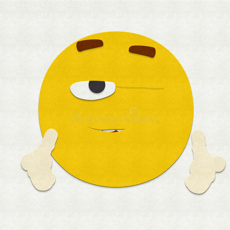 Felt Emoticon Winking stock photos