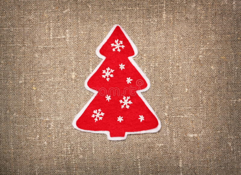 Felt handmade Christmas tree stock photo