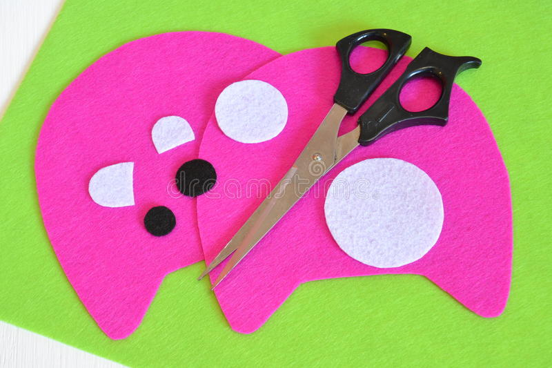 Sewing set for pink felt monster - how to make monster handmade toy royalty free stock photography
