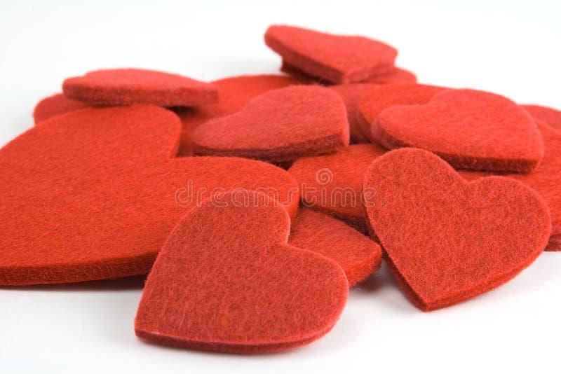 Felt heart pile royalty free stock image