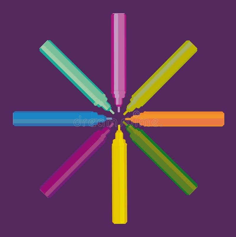 Felt pen. Eight different color felt pen