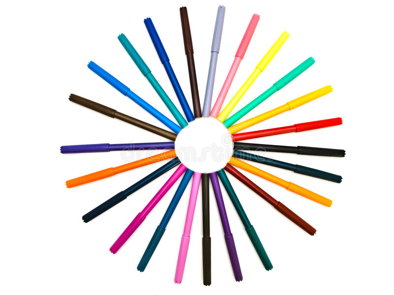 Felt pens. Set of the multicolored felt pens in round shape against the white background royalty free stock images