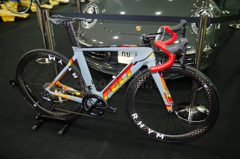 FELT road bike in classic blue color displays at international Bangkok bike expo. stock photography