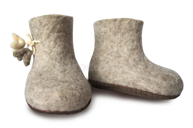 Felt soft gray boot isolated