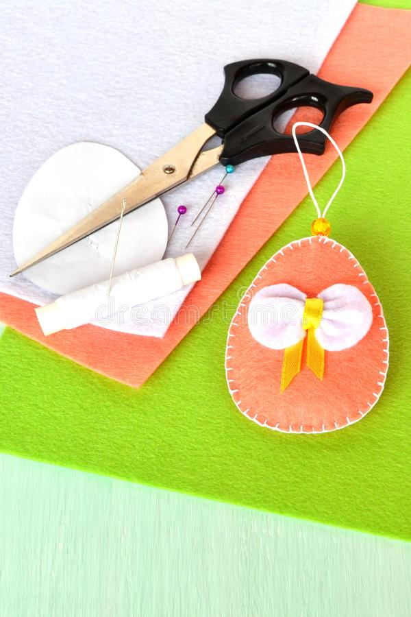 Felt Easter eggs - handmade crafts, kids sewing stock image