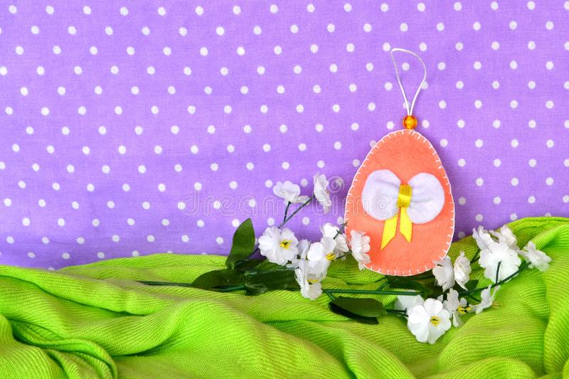 Felt Easter eggs - handmade crafts, children sewing stock image