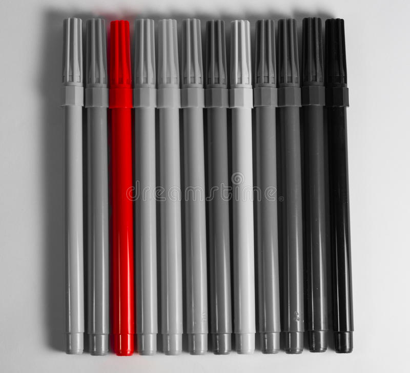 Felt tip pen red stand out royalty free stock images