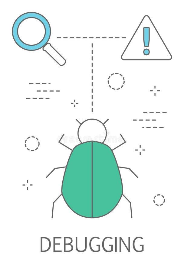 Feltestningsbegrepp Sökande av felet i programvaran royaltyfri illustrationer