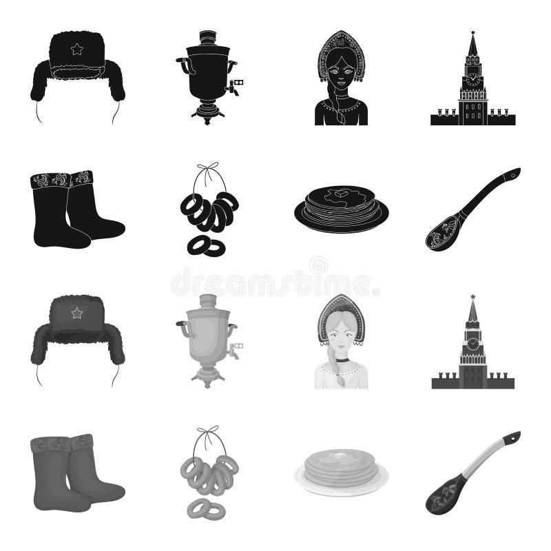 Feltro, botas, secagem, pão-de-espécie Ícones ajustados da coleção do país de Rússia no estoque preto, monocromático do símbolo d ilustração royalty free