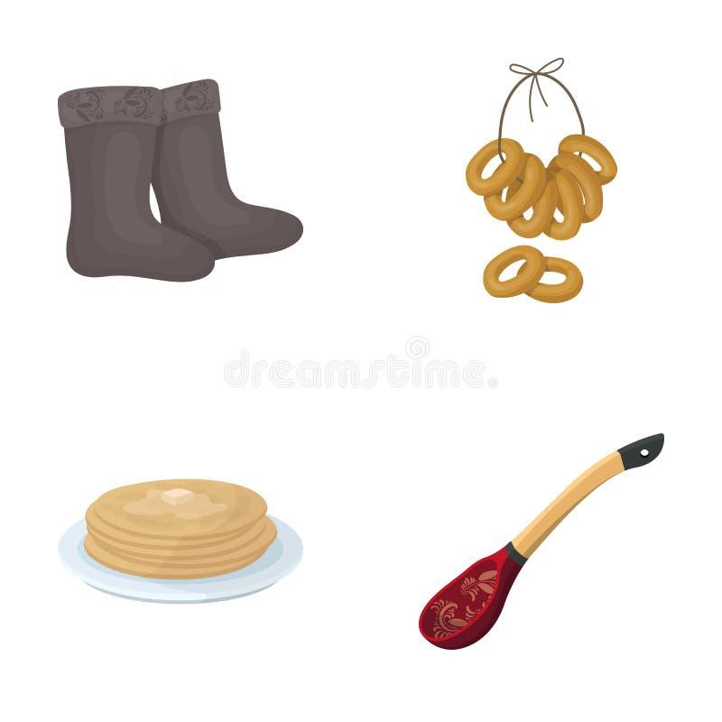 Feltro, stivali, essiccazione, pan di zenzero Le icone stabilite della raccolta del paese della Russia nello stile del fumetto ve illustrazione di stock