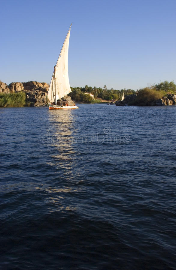 Felucca On The Nile River In Egypt, Travel Stock Image