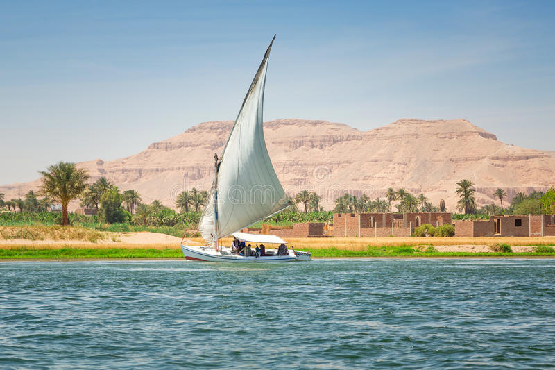 Felucca on the Nile river in Luxor royalty free stock photo