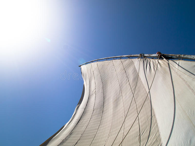 A felucca or sailing boat on the River Nile stock images