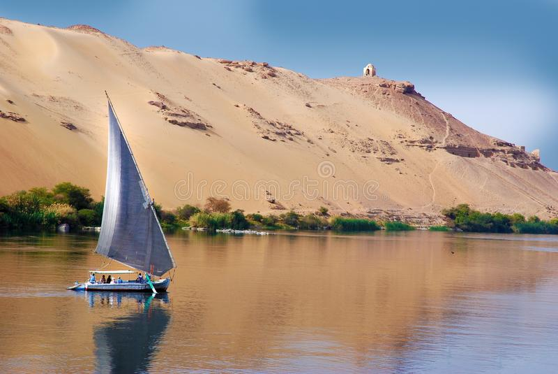 Felucca sailing on Nile river, Egypt stock photo
