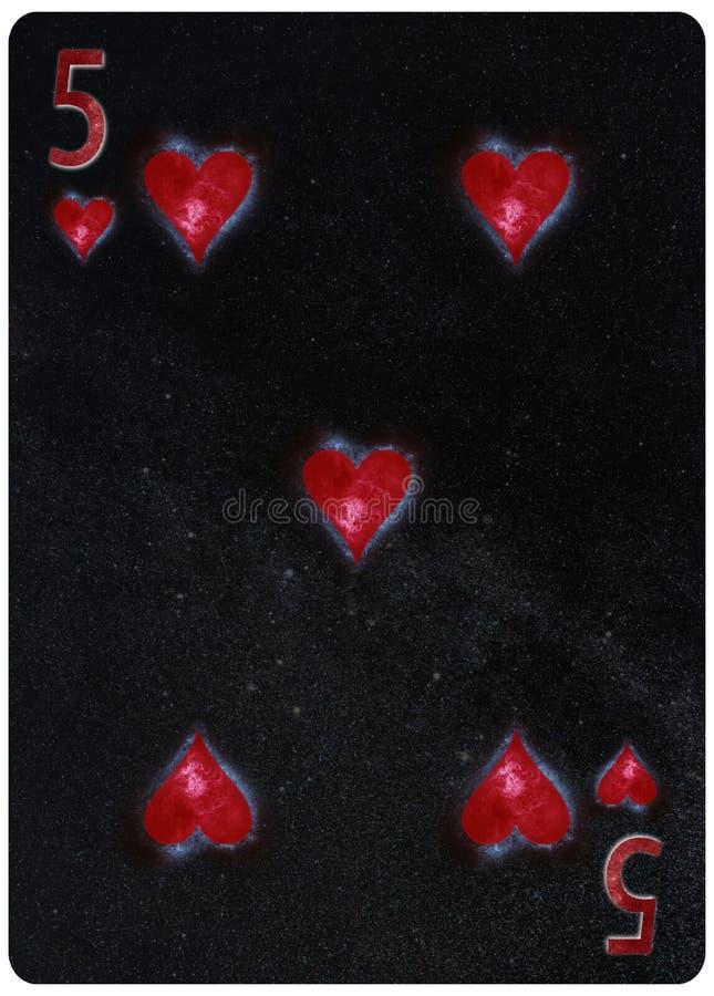 Fem av bakgrund för abstrakt begrepp för spela kort för hjärtor stock illustrationer