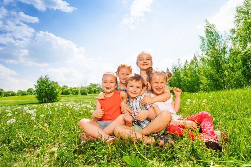 Fem barn sitter tillsammans på en äng arkivbilder