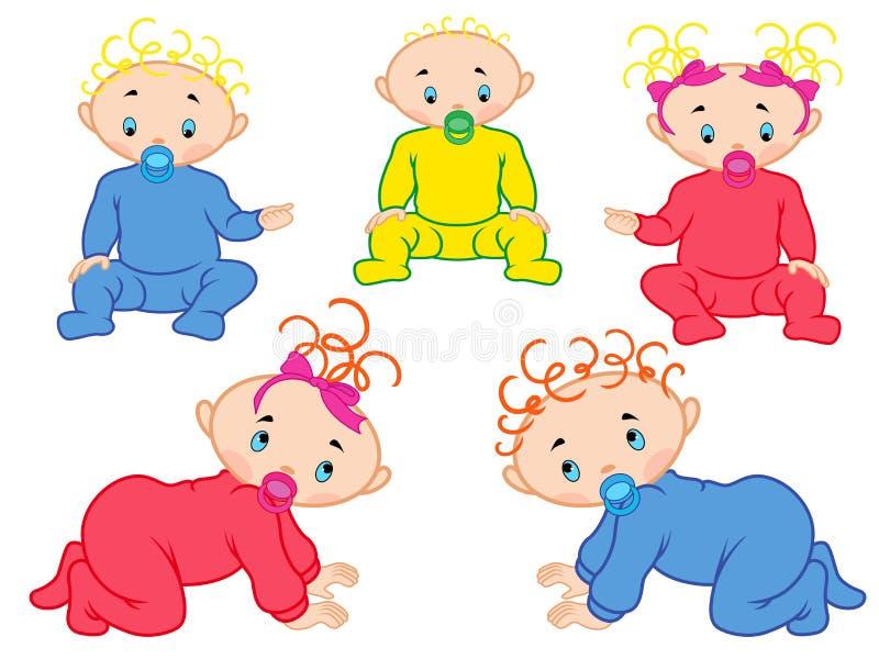 Fem behandla som ett barn isolerat på vit bakgrund stock illustrationer