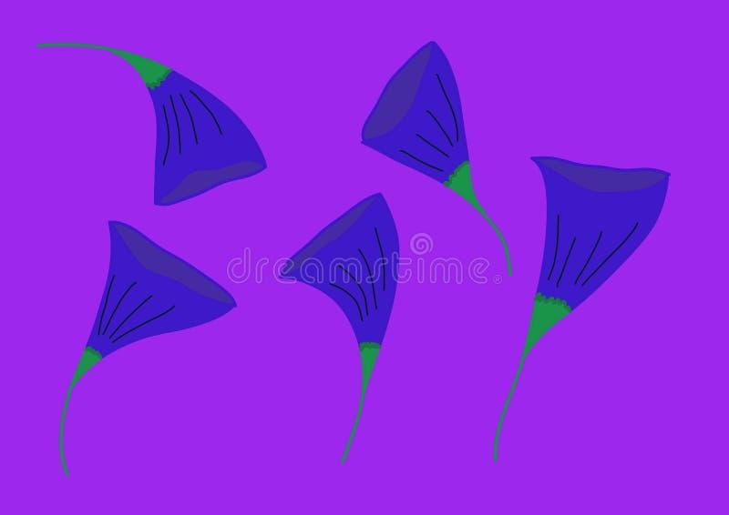 Fem blåa blommor på en purpurfärgad bakgrund royaltyfri illustrationer