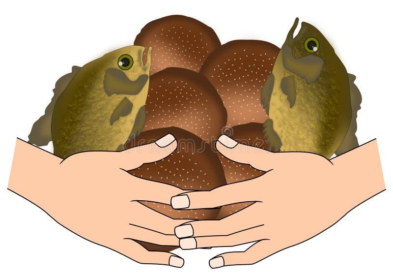 Fem bröd och två fiskar stock illustrationer
