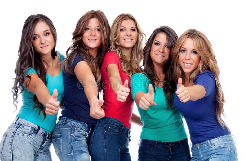 Fem bra vänner som Ok säger arkivfoton
