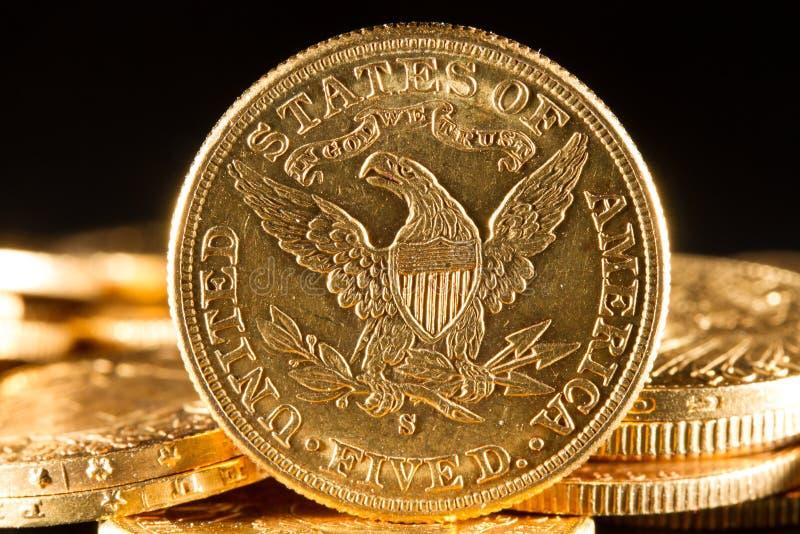 Fem dollar guld- myntar arkivbilder
