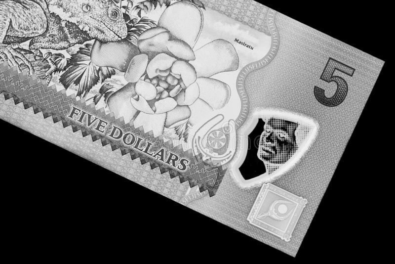 Fem Fijian dollar sedel på en svart bakgrund svart white fotografering för bildbyråer