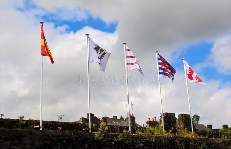 Fem flaggor som blåser i vinden fotografering för bildbyråer