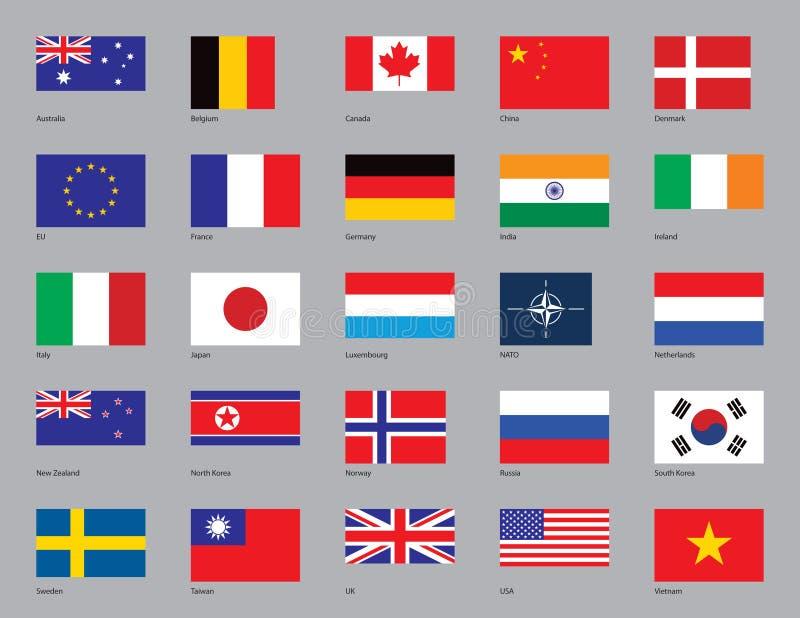 fem flaggor tjugo vektor illustrationer