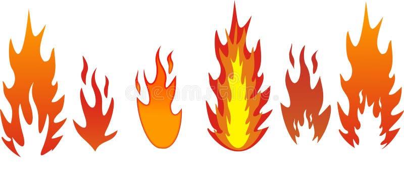 fem flammatyper royaltyfri illustrationer