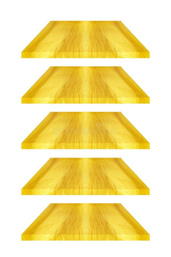 fem guld- plattor eller ark som isoleras på vit royaltyfri foto