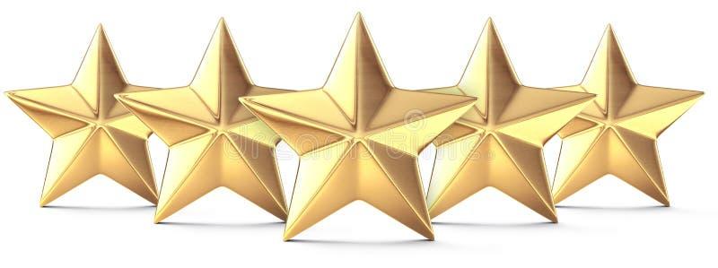 fem guld- stjärnor royaltyfri illustrationer