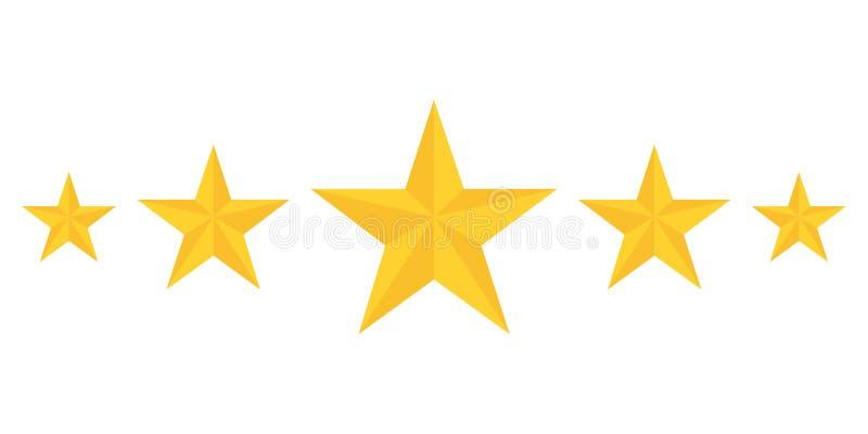 Fem guld- stjärnor som klassar visa bästa kvalitet stock illustrationer