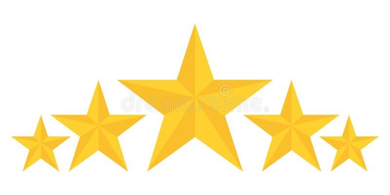 Fem guld- stjärnor som klassar visa bästa kvalitet royaltyfri illustrationer
