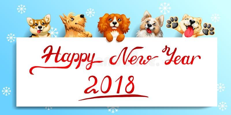 Fem gullig hund och affisch på blått royaltyfri illustrationer