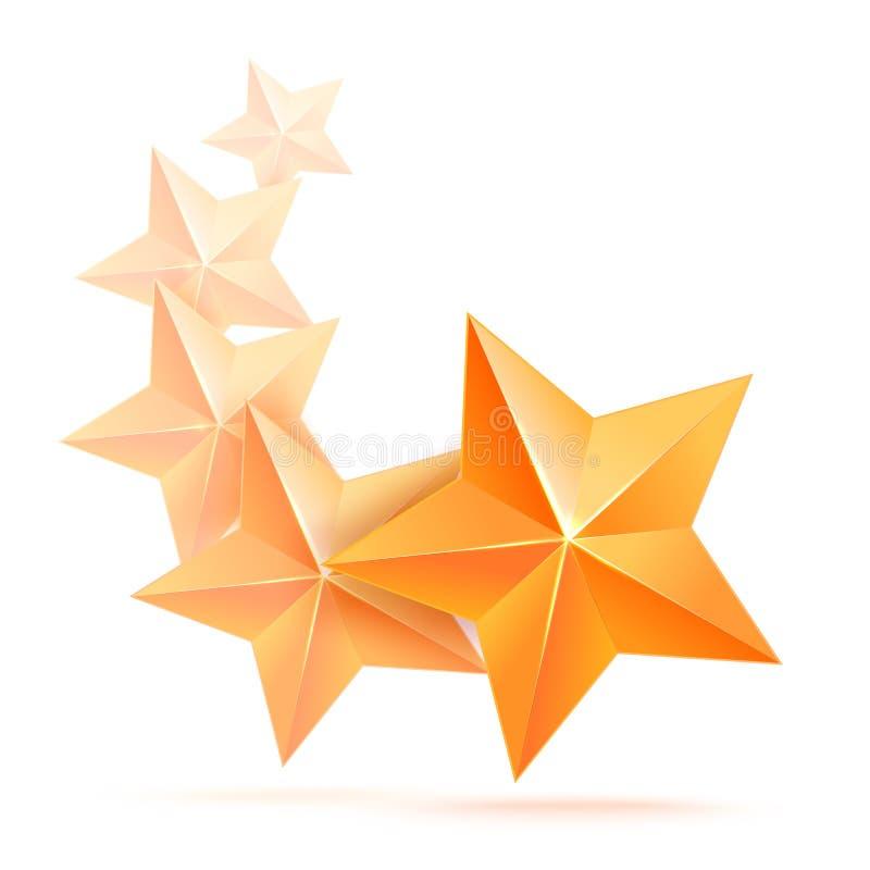 Fem högvärdiga guld- stjärnor 3d Den bästa belöningen royaltyfri illustrationer