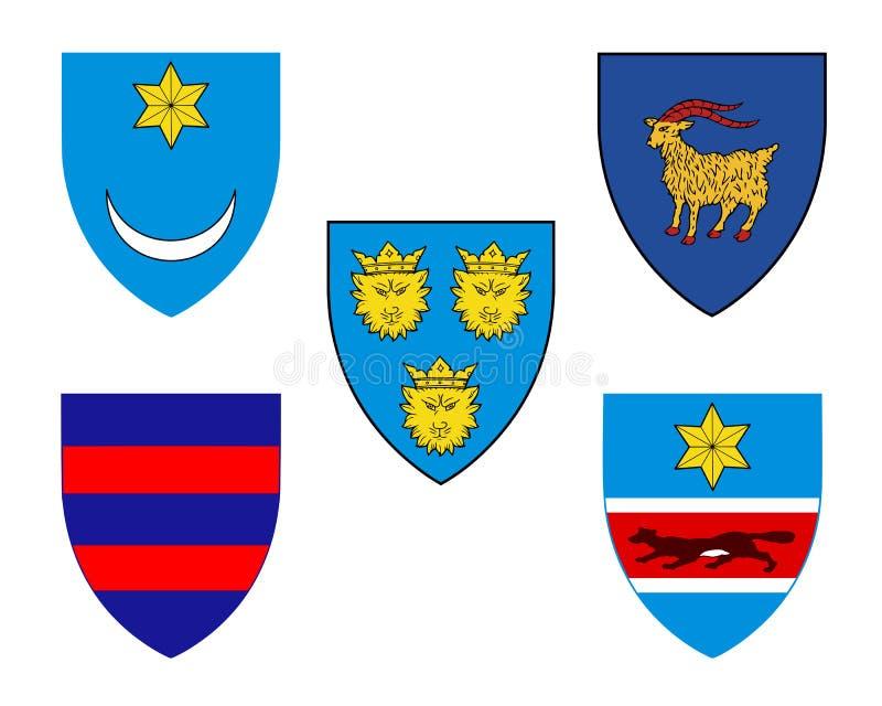 Fem historiska vapensköldar av Kroatien vektor illustrationer