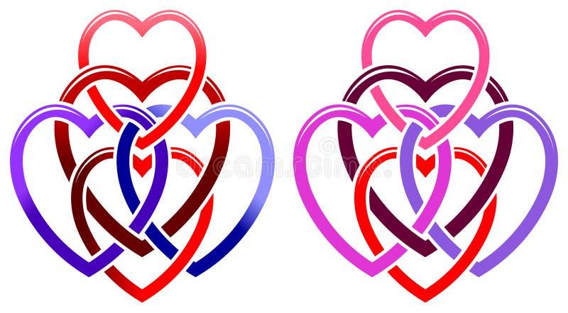 Fem hjärtor royaltyfri illustrationer