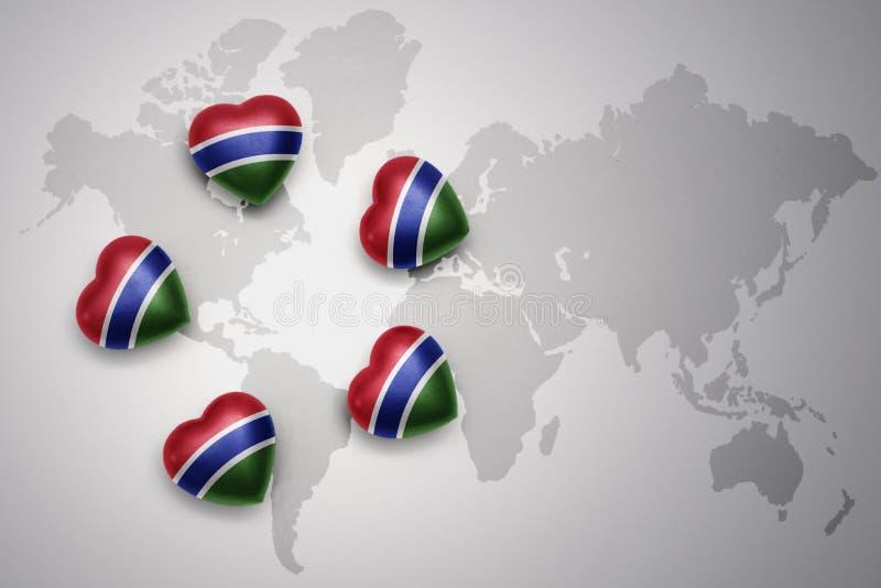 Fem hjärtor med nationsflaggan av Gambia på en världskartabakgrund royaltyfri illustrationer