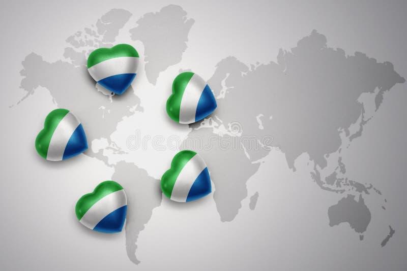 Fem hjärtor med nationsflaggan av Sierra Leone på en världskartabakgrund royaltyfri illustrationer
