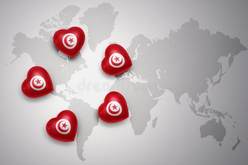 fem hjärtor med nationsflaggan av Tunisien på en världskartabakgrund vektor illustrationer