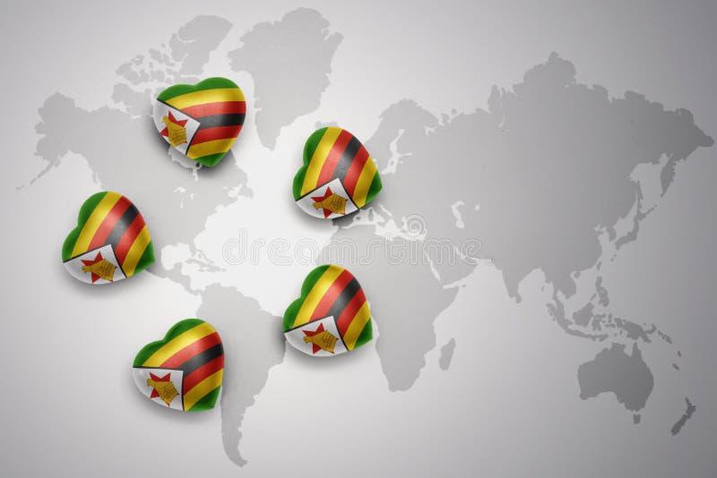 Fem hjärtor med nationsflaggan av Zimbabwe på en världskartabakgrund vektor illustrationer