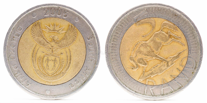 Fem isolerat Rand mynt arkivbild