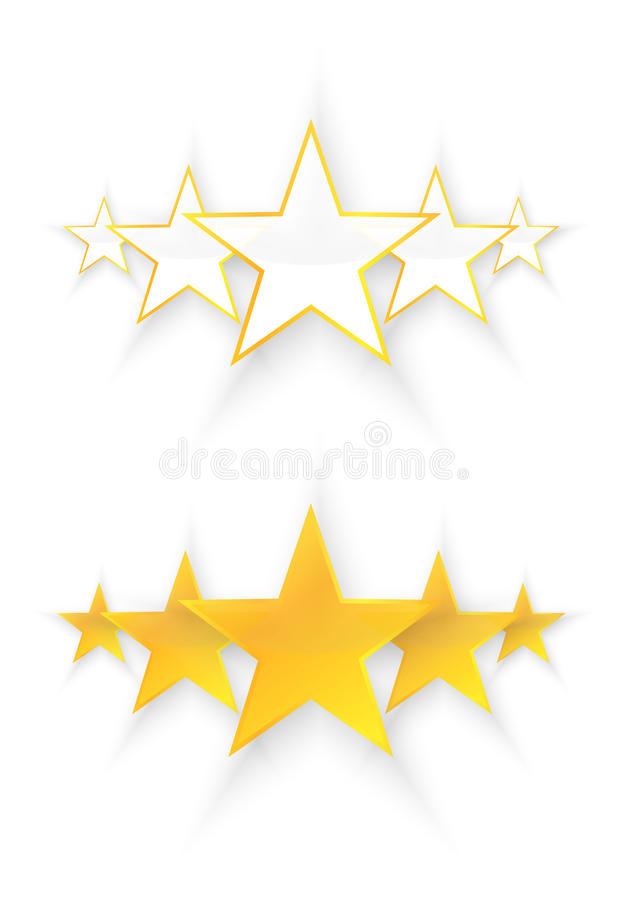 Fem kvalitets- stjärnor stock illustrationer