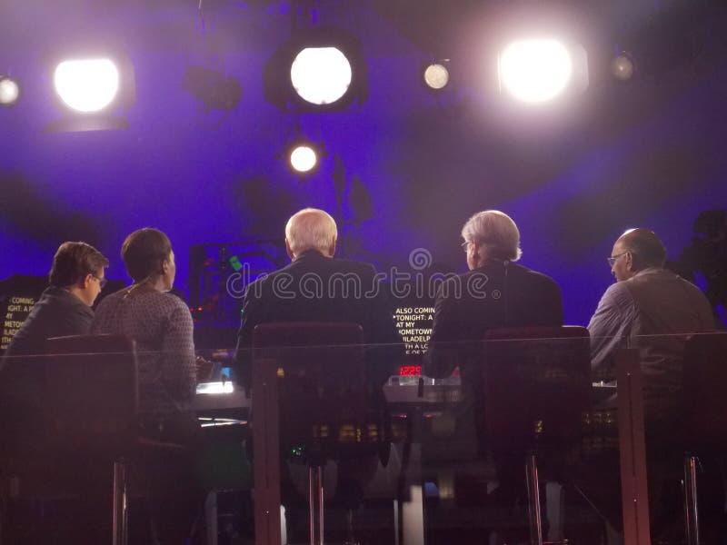 Fem Live During DNC för film för NBC-nyheternakommentatorer regel arkivfoto