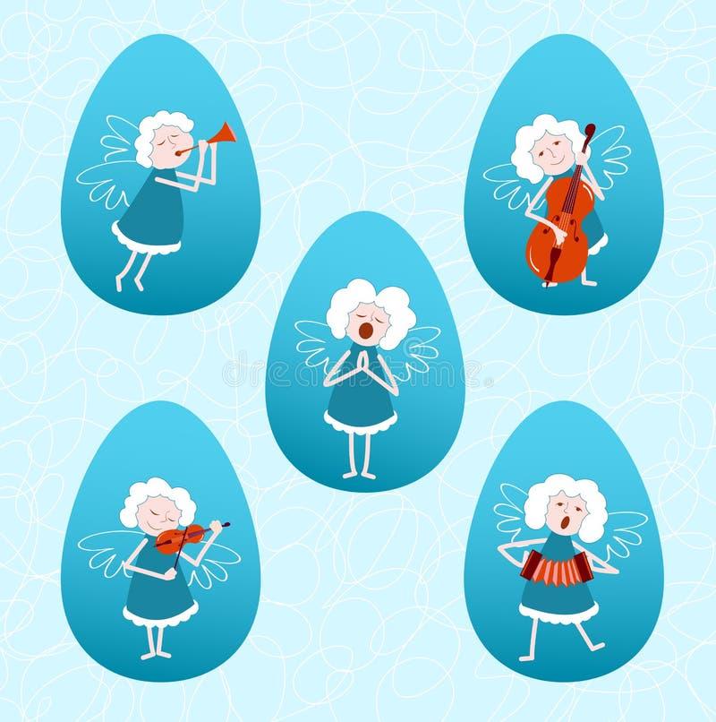 Fem musikaliska änglar stock illustrationer