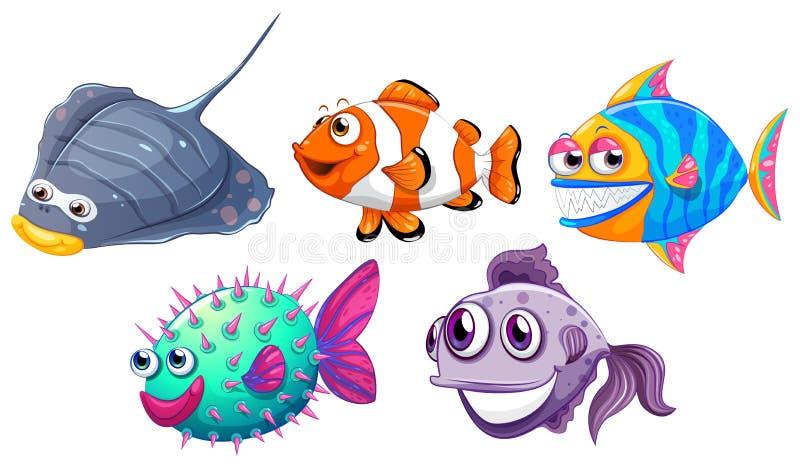 Fem olika fiskar stock illustrationer