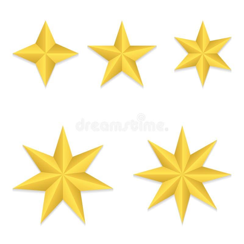 Fem olika stjärnor stock illustrationer