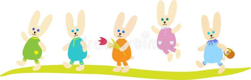 Fem påskkaniner stock illustrationer